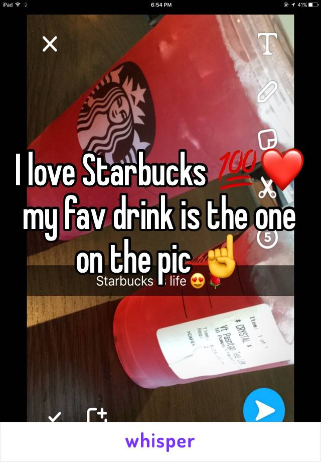 I love Starbucks 💯❤️ my fav drink is the one on the pic ☝️