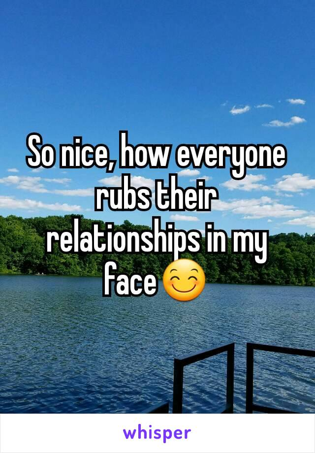 So nice, how everyone rubs their relationships in my face😊