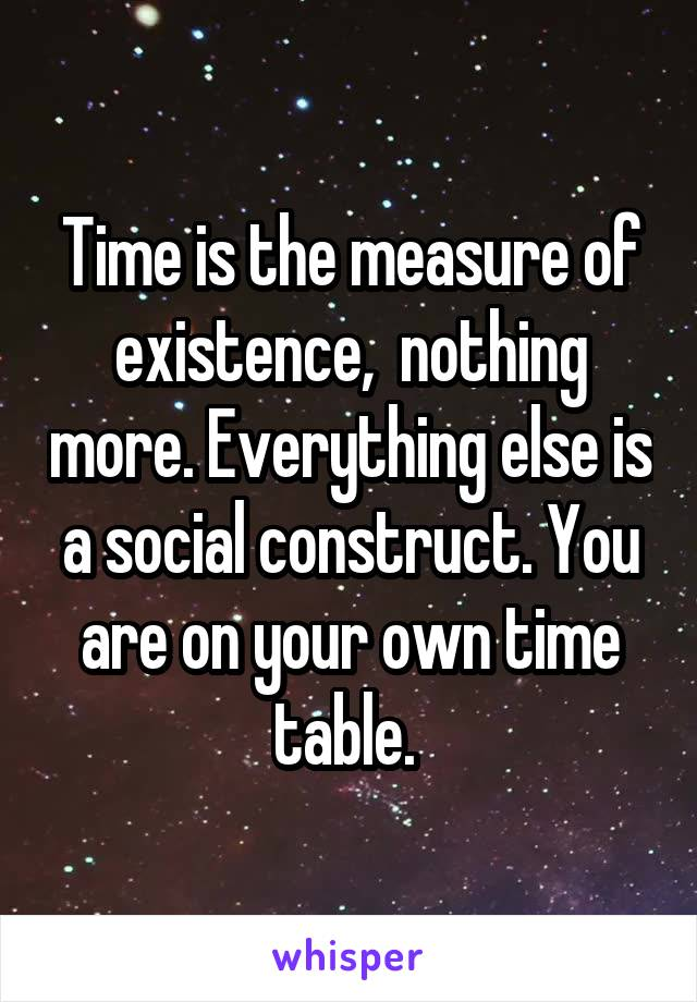 Time is the measure of existence,  nothing more. Everything else is a social construct. You are on your own time table.