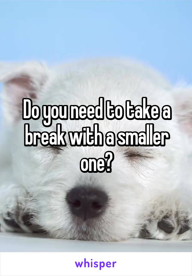 Do you need to take a break with a smaller one?