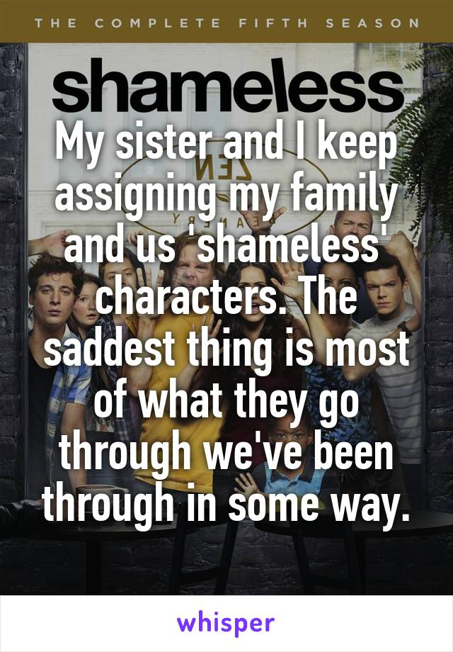 My sister and I keep assigning my family and us 'shameless' characters. The saddest thing is most of what they go through we've been through in some way.