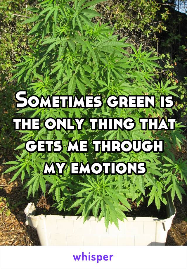Sometimes green is the only thing that gets me through my emotions