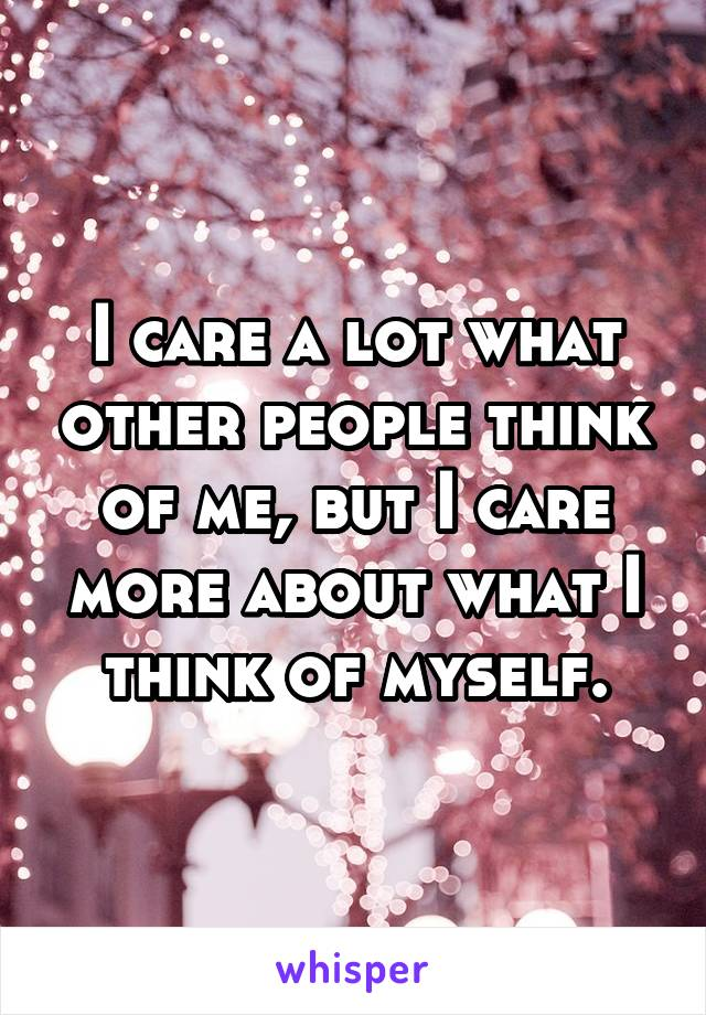 I care a lot what other people think of me, but I care more about what I think of myself.