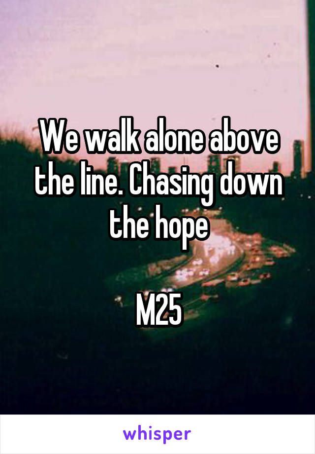 We walk alone above the line. Chasing down the hope  M25