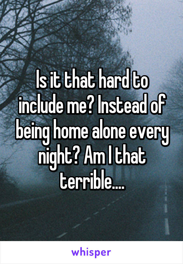 Is it that hard to include me? Instead of being home alone every night? Am I that terrible....