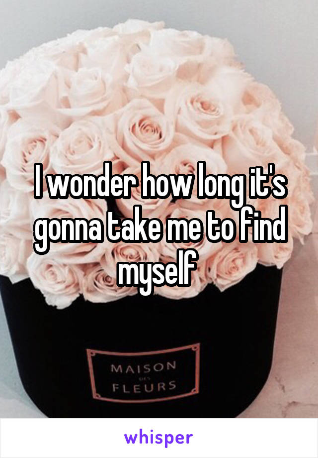 I wonder how long it's gonna take me to find myself