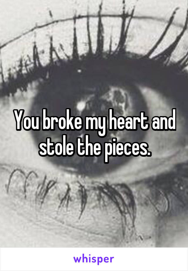 You broke my heart and stole the pieces.