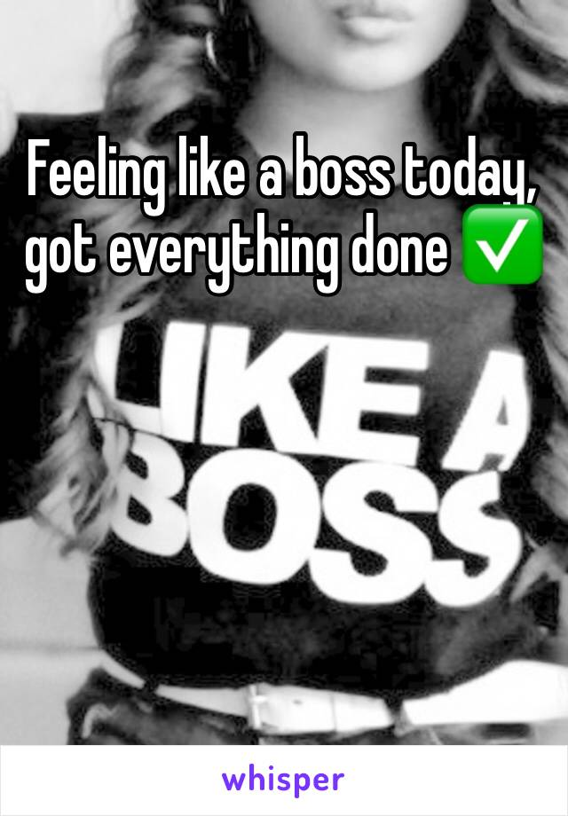 Feeling like a boss today, got everything done ✅