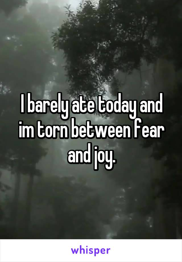 I barely ate today and im torn between fear and joy.