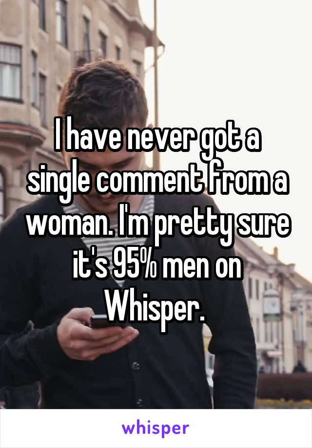 I have never got a single comment from a woman. I'm pretty sure it's 95% men on Whisper.