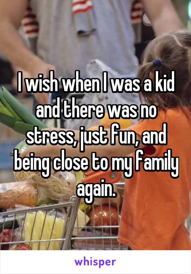 I wish when I was a kid and there was no stress, just fun, and being close to my family again.