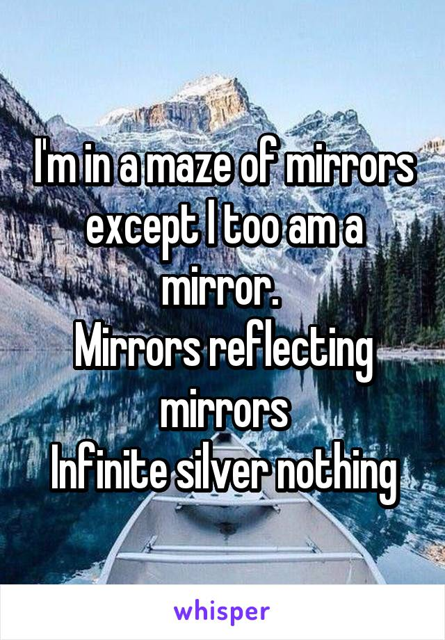 I'm in a maze of mirrors except I too am a mirror.  Mirrors reflecting mirrors Infinite silver nothing