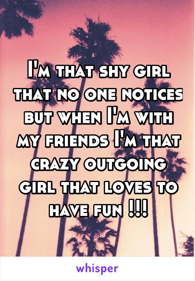 I'm that shy girl that no one notices but when I'm with my friends I'm that crazy outgoing girl that loves to have fun !!!