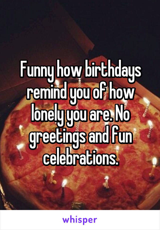 Funny how birthdays remind you of how lonely you are. No greetings and fun celebrations.