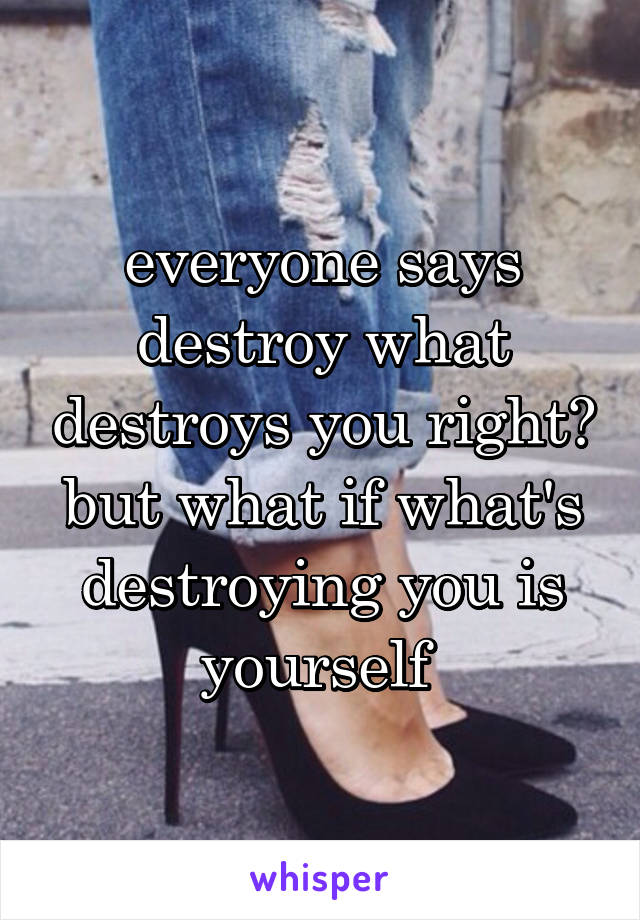 everyone says destroy what destroys you right? but what if what's destroying you is yourself