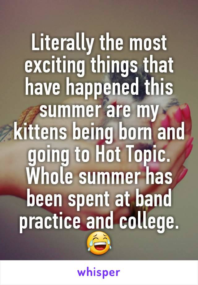 Literally the most exciting things that have happened this summer are my kittens being born and going to Hot Topic. Whole summer has been spent at band practice and college. 😂