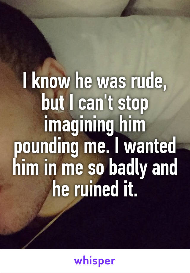 I know he was rude, but I can't stop imagining him pounding me. I wanted him in me so badly and he ruined it.