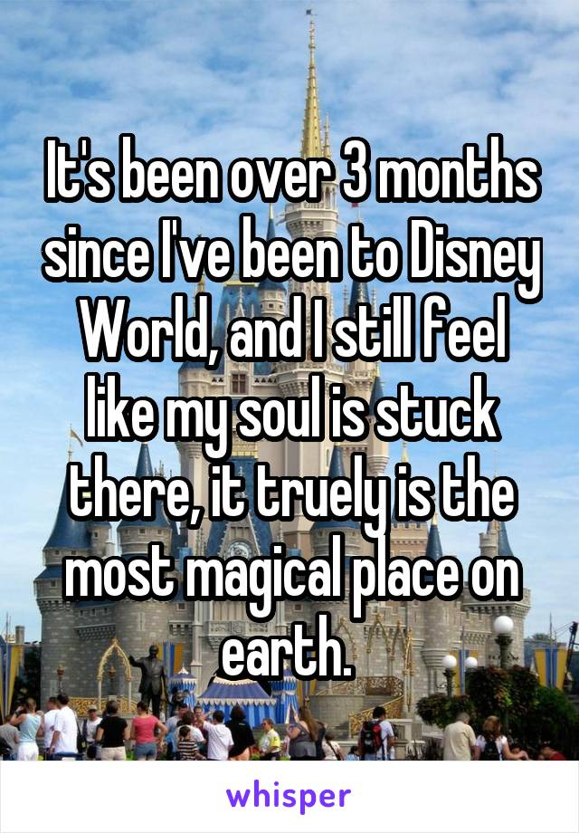 It's been over 3 months since I've been to Disney World, and I still feel like my soul is stuck there, it truely is the most magical place on earth.