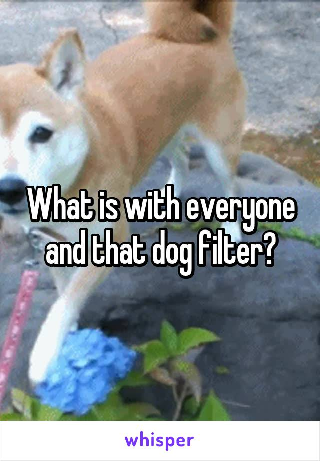What is with everyone and that dog filter?