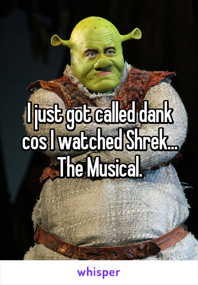 I just got called dank cos I watched Shrek... The Musical.