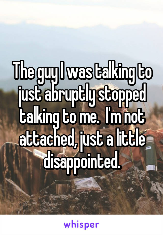 The guy I was talking to just abruptly stopped talking to me.  I'm not attached, just a little disappointed.