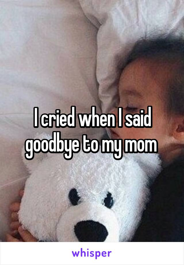 I cried when I said goodbye to my mom