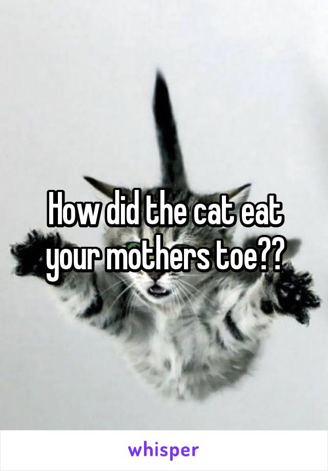 How did the cat eat your mothers toe??