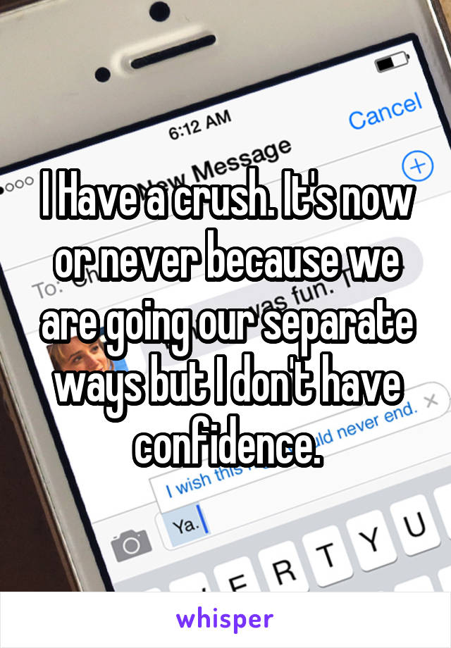 I Have a crush. It's now or never because we are going our separate ways but I don't have confidence.
