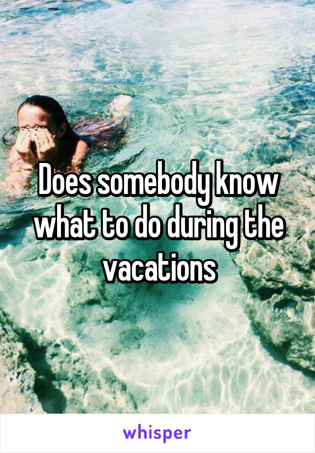 Does somebody know what to do during the vacations