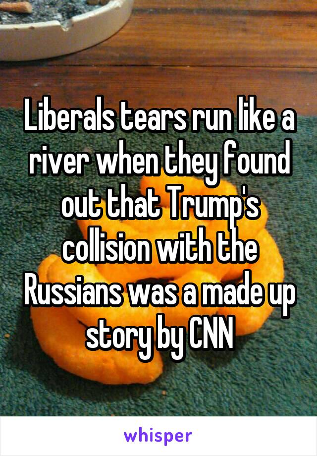 Liberals tears run like a river when they found out that Trump's collision with the Russians was a made up story by CNN