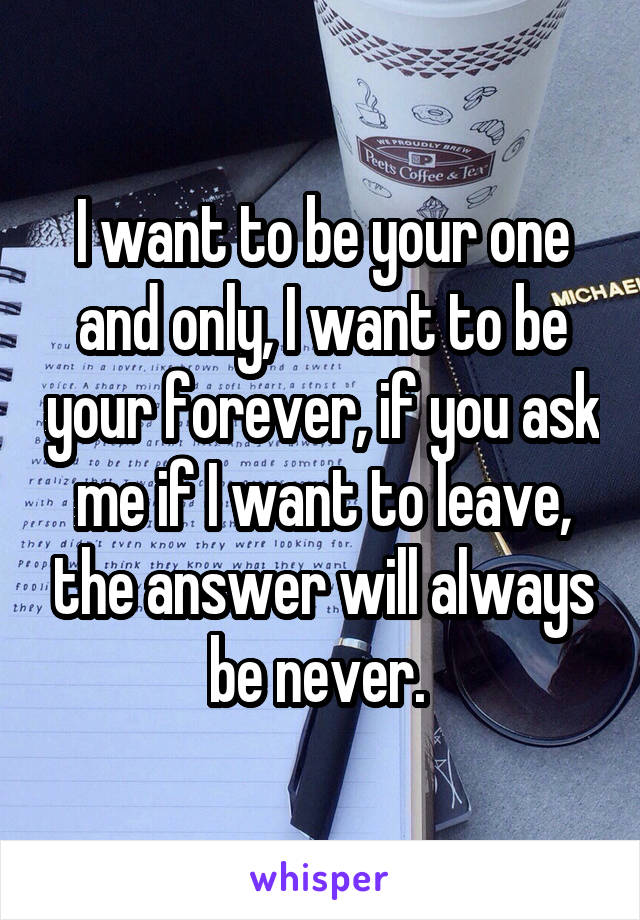 I want to be your one and only, I want to be your forever, if you ask me if I want to leave, the answer will always be never.