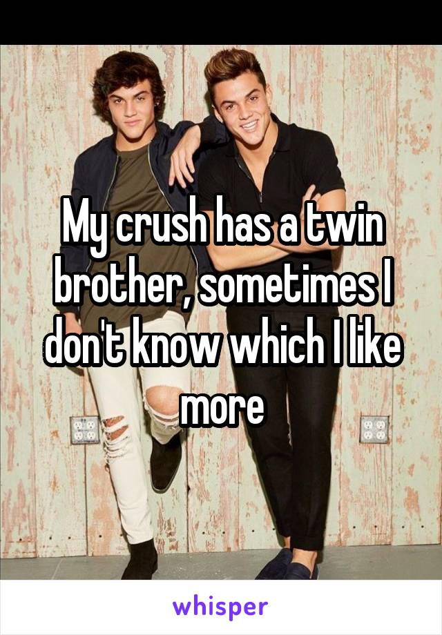 My crush has a twin brother, sometimes I don't know which I like more