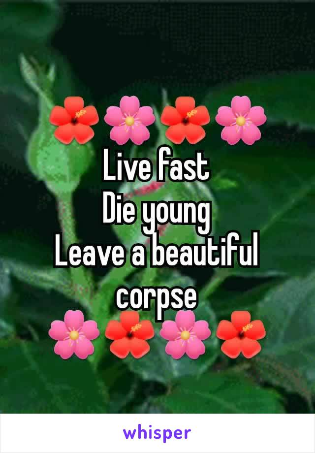 🌺🌸🌺🌸 Live fast Die young Leave a beautiful corpse 🌸🌺🌸🌺
