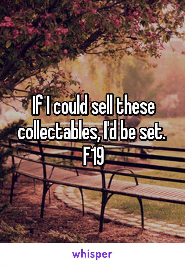 If I could sell these collectables, I'd be set.  F19
