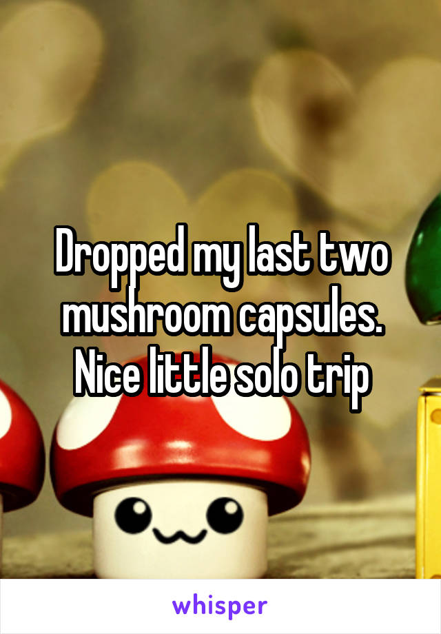 Dropped my last two mushroom capsules. Nice little solo trip