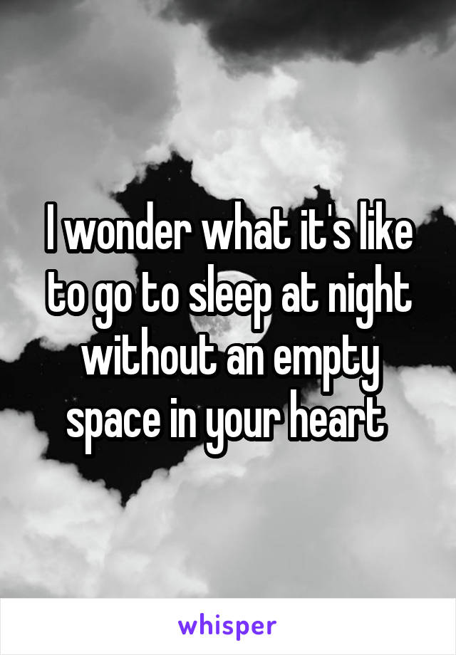 I wonder what it's like to go to sleep at night without an empty space in your heart