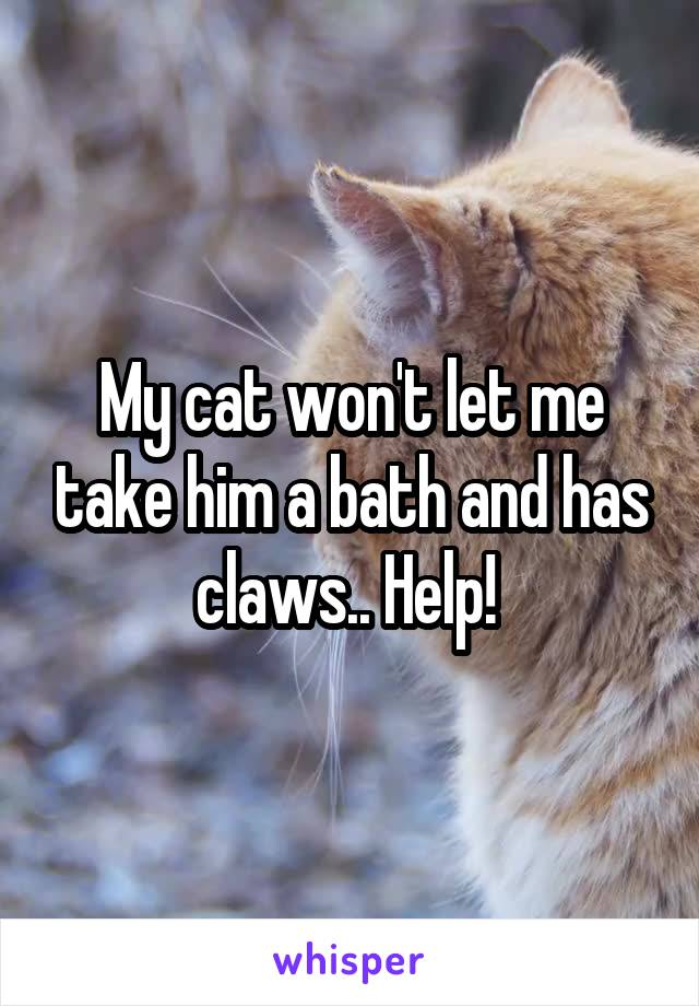 My cat won't let me take him a bath and has claws.. Help!