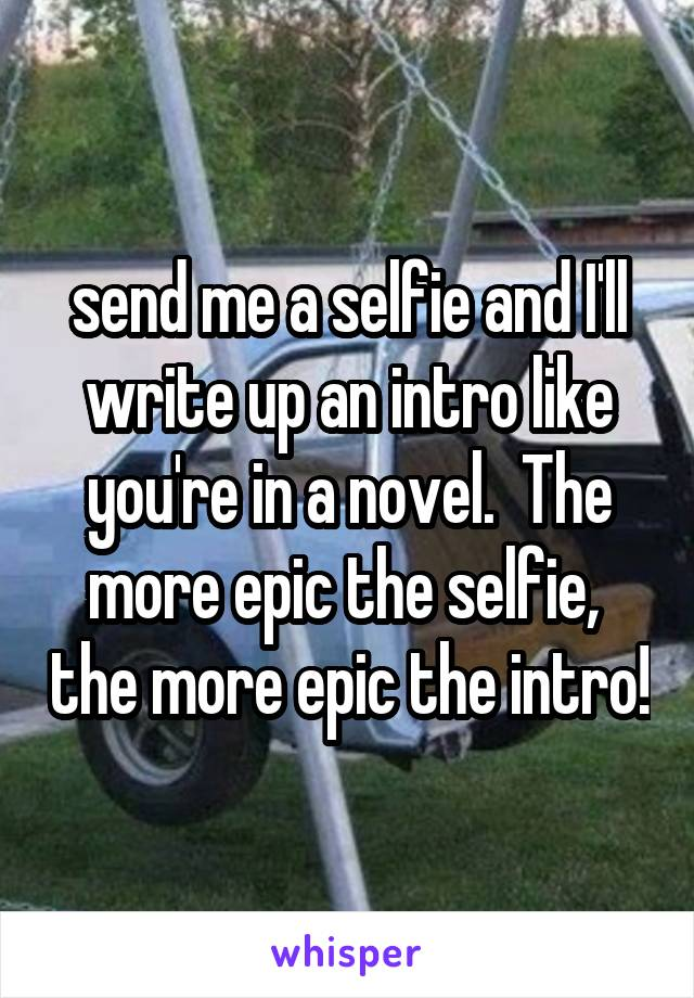 send me a selfie and I'll write up an intro like you're in a novel.  The more epic the selfie,  the more epic the intro!