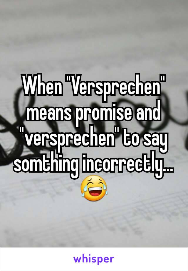 """When """"Versprechen"""" means promise and """"versprechen"""" to say somthing incorrectly...😂"""
