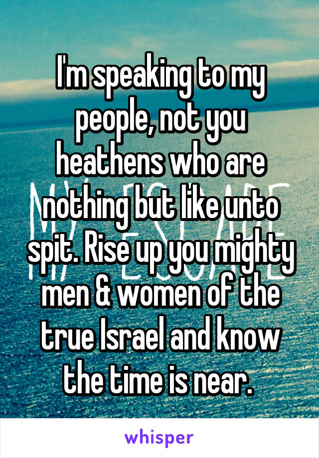 I'm speaking to my people, not you heathens who are nothing but like unto spit. Rise up you mighty men & women of the true Israel and know the time is near.