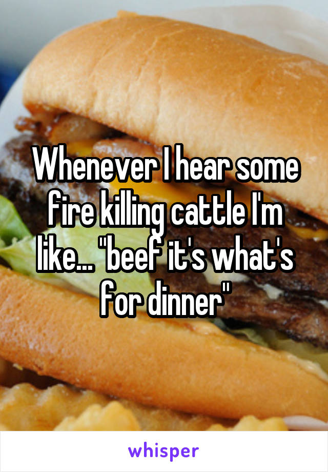 """Whenever I hear some fire killing cattle I'm like... """"beef it's what's for dinner"""""""