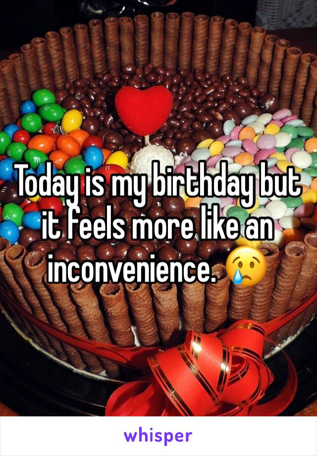 Today is my birthday but it feels more like an inconvenience. 😢