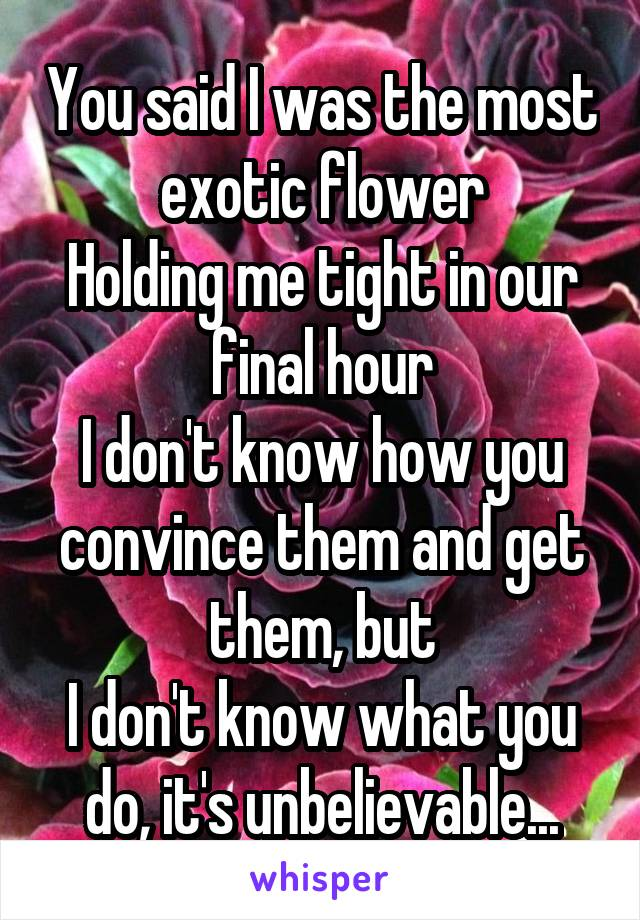 You said I was the most exotic flower Holding me tight in our final hour I don't know how you convince them and get them, but I don't know what you do, it's unbelievable...