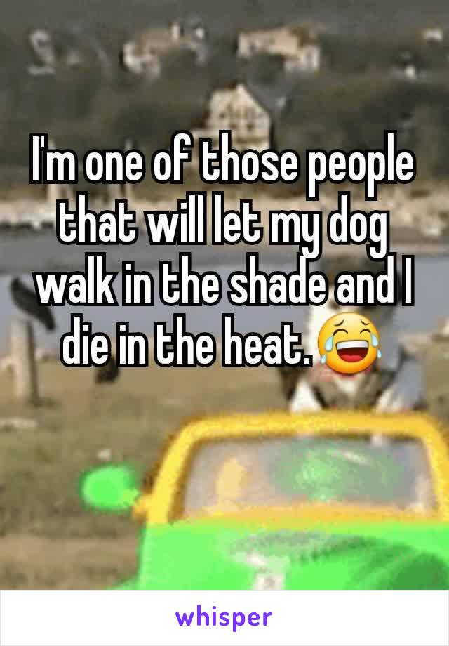 I'm one of those people that will let my dog walk in the shade and I die in the heat.😂