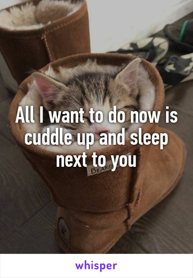 All I want to do now is cuddle up and sleep next to you