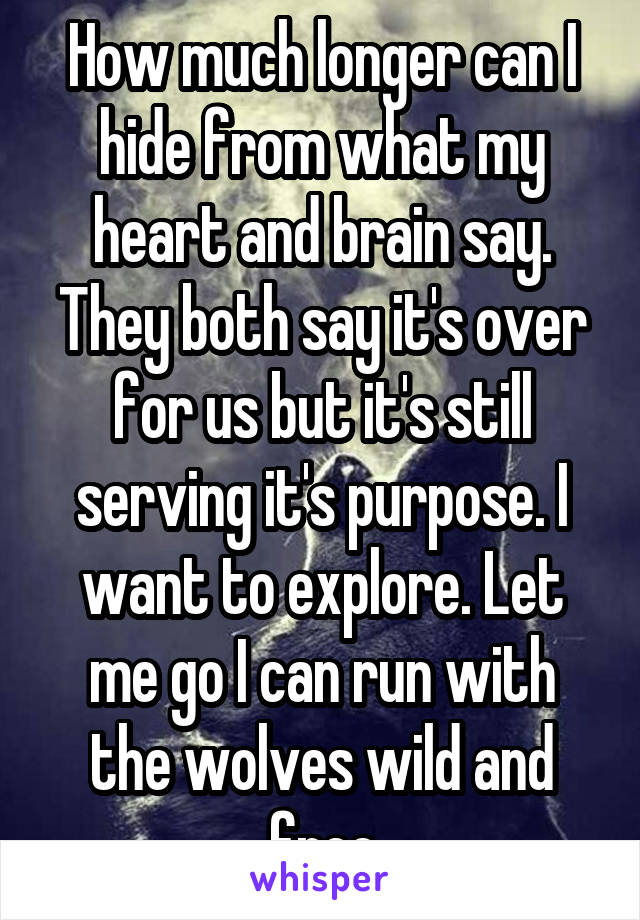 How much longer can I hide from what my heart and brain say. They both say it's over for us but it's still serving it's purpose. I want to explore. Let me go I can run with the wolves wild and free