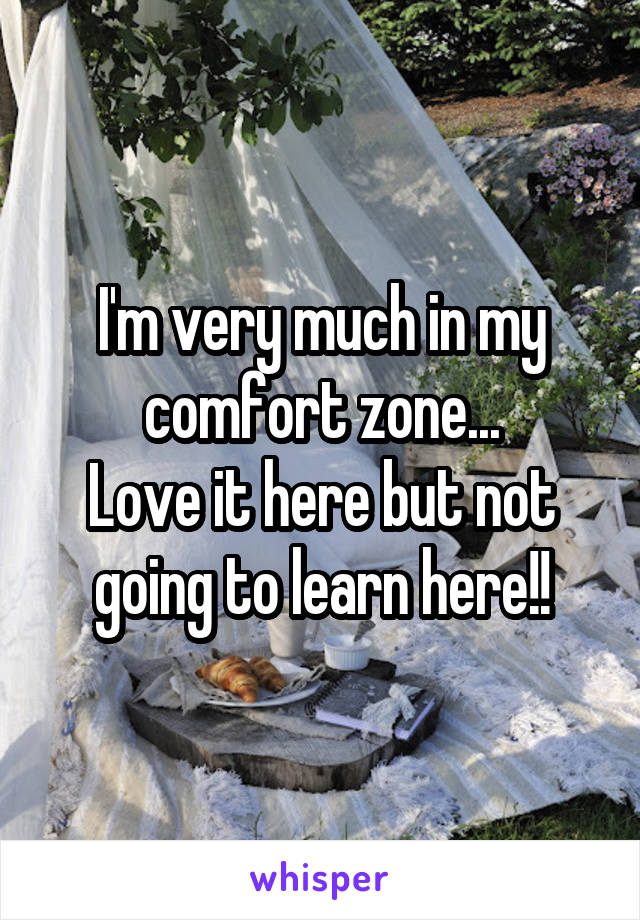 I'm very much in my comfort zone... Love it here but not going to learn here!!