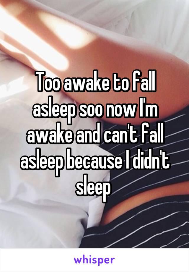 Too awake to fall asleep soo now I'm awake and can't fall asleep because I didn't sleep
