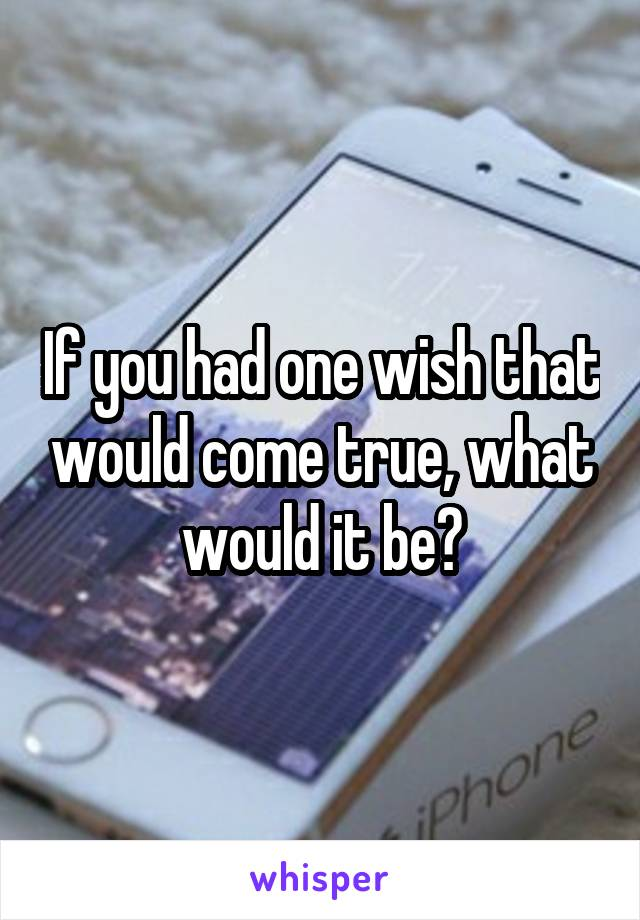 If you had one wish that would come true, what would it be?