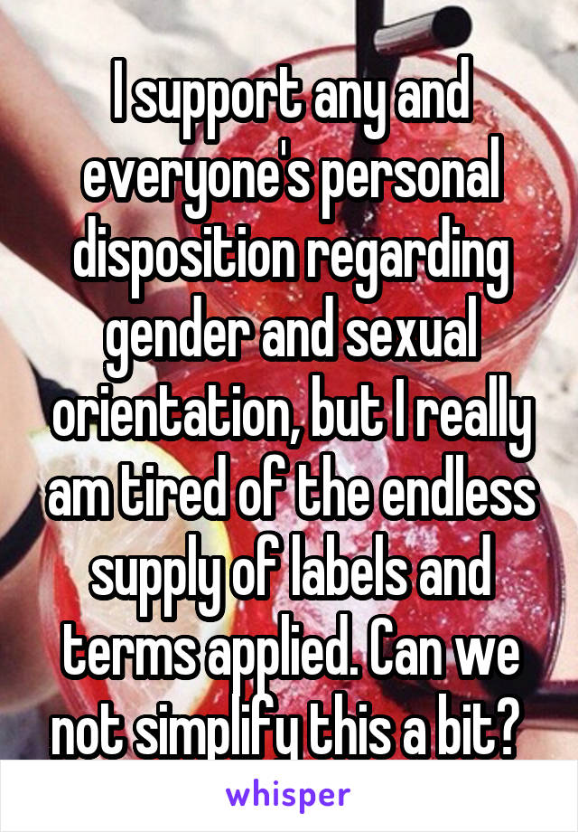 I support any and everyone's personal disposition regarding gender and sexual orientation, but I really am tired of the endless supply of labels and terms applied. Can we not simplify this a bit?